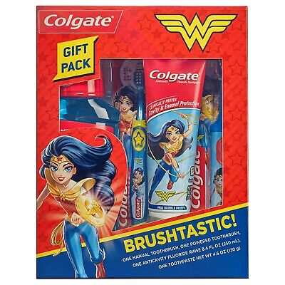 Colgate Toothpaste Mouthwash Toothbrush Kids Gift Pack Wonder Woman Tooth Care