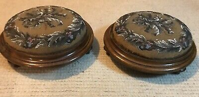 Antique Footstools Bead Decoration Rare Foot Stools