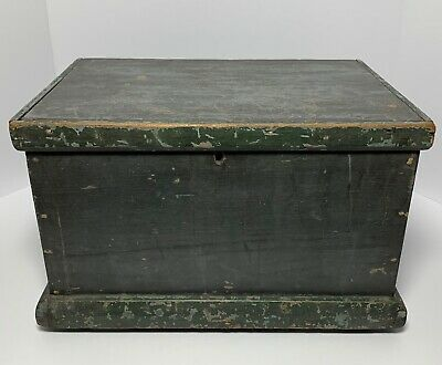 19th Century Green Blue PAINTED WOOD BOX AMERICAN Antique 16""
