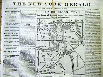 <1862 Civil War newspaper LARGE Map headlines BATTLE of FORT DONELSON Tennessee