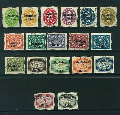 Germany 1920 Government Service full set of stamps ovpt. Used. Sg O137-O154