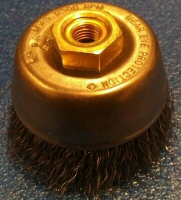 """Weiler 13176 3-1//2/"""" Crimped Wire Cup Brush M10X1.50thd. .014 Wire"""