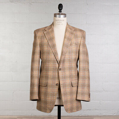J.Press Sport Coat Size 40 L Cream Plaid Italian Wool Plymouth