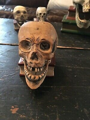 Vintage Japan Bisque Momento Mori Skeleton Match Holder Oddity Moving Jaw Rare