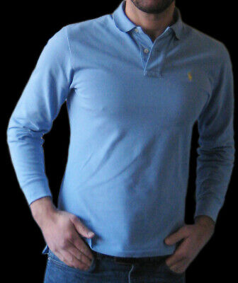 "Designer Ralph Lauren Blue Long-Slv Polo Shirt S-M chest 38-40"" Casual Vintage"