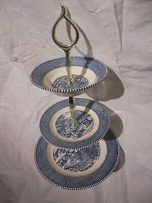Blue Currier and Ives 3 tier tidbit tray, Royal China Co, ironstone, Made in USA