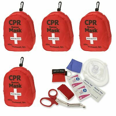 4 pk Emergency CPR Rescue First Aid Kit, CPR Pocket Resuscitator One Way Valve