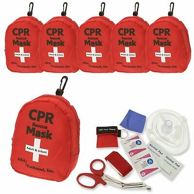 6 pk Emergency CPR Rescue First Aid Kit, CPR Pocket Resuscitator One Way Valve