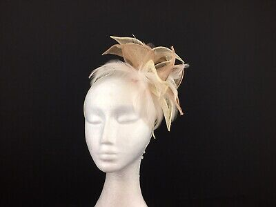 Ladies Fascinator Cream with Rose Gold and Cream Feathers with a Pink tINGE