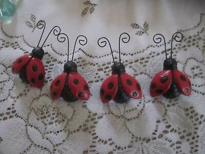 Lot of 4 NEW  Cast Iron Lady Bug Clips