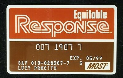 Equitable Response credit card exp 1999♡Free Shipping♡cc967♡