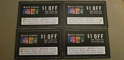 L&M Cigarette Coupons- 4 coupons @ $1.00 off one pack; total $4 exp 3/31/2020