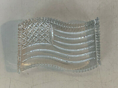 Waterford Crystal US American Flag Clear Paperweight