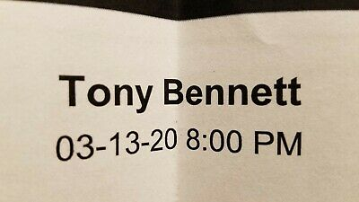 Tony Bennett Live at Foxwoods in CT!/3-13-20@8pm/Ticket will be mailed!/FreeShip