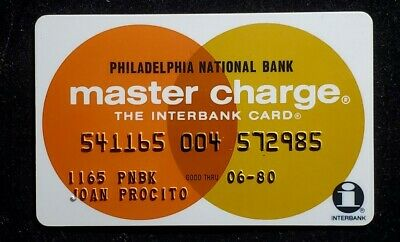 Philadelphia National Bank MasterCharge credit card exp 1980♡Free Shipping♡cc977