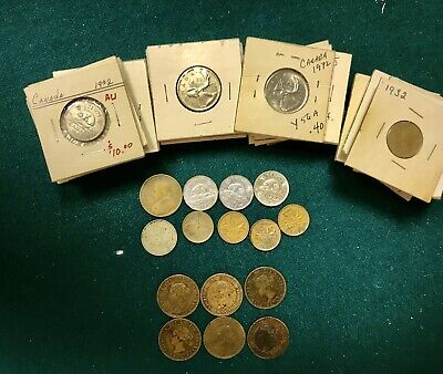 Vintage Lot 57 Canadian Canada Coins 1876-1975