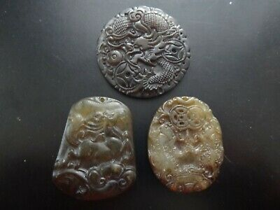 Lot of 3 Vintage Carved Chinese Black, White Jade Amulets Pendants