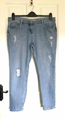 NEXT PETITE Relaxed Skinny Everyday Blue Distressed Ankle Grazer Jeans size 16 P