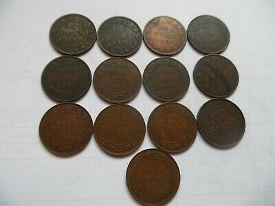 World coins. Old Canada cents. Victoria to George 5th. Lotx30