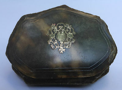 Antique Gold/Silver Inlaid Faux Tortoiseshell, Velvet & Silk Ladies Coin Purse 1