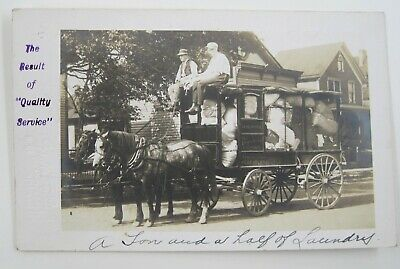 Postcard ADVERTISING Peerless Laundry FUNNY ILLINOIS Horse Buggy RPPC Posted