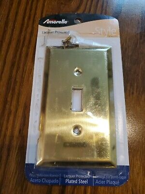 Amerelle Decorator Coated  Steel Brass Colored Wall Plate Light Switch Cover NIB