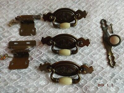 Antiqued Brass Drawer Pulls (3), Brackets (2) & Knob (1) - Vintage