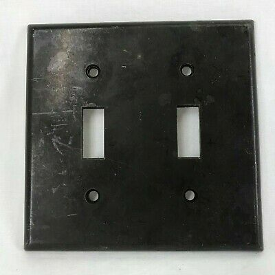 Vintage 1950's Leviton Bakelite Plastic Two Gang Brown Toggle Switch Plate