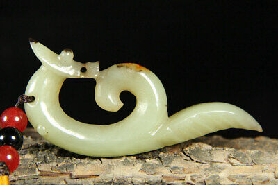 Chinese Exquisite Hand carved beast Carving Hetian jade Pendant