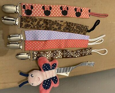 6 Baby Pacifier Holder Newborn Boys Girl Dummy Soother Leash Strap Clip Chain