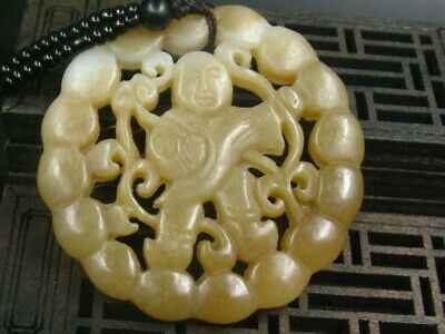 Antique Chinese Nephrite Celadon Hetian-OLD-jade LUCK-BOY Statues/Pendant