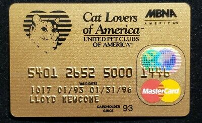 MBNA Cat Lovers of America MasterCard exp 1996♡Free Shipping♡cc1015