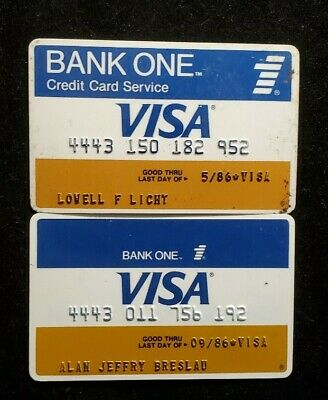 Bank One Visa Large & Small logos♡Free Shipping♡cc1016♡ 2 cards