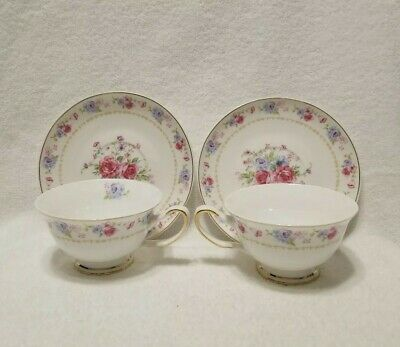 GRACE'S TEAWARE Set of 2 Tea Coffee CUPS & SAUCERS 4 pieces Pink Blue ROSES VGC