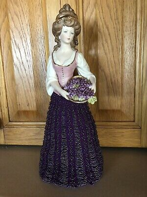 Handmade Porcelain Half Doll With Hand Beaded Skirt- Brand New
