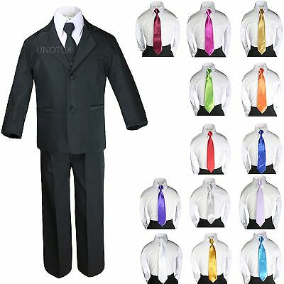 6pc Boy Formal Satin Shawl Lapel Suits Tuxedo Coral Red Bow Tie Baby Teen 2T