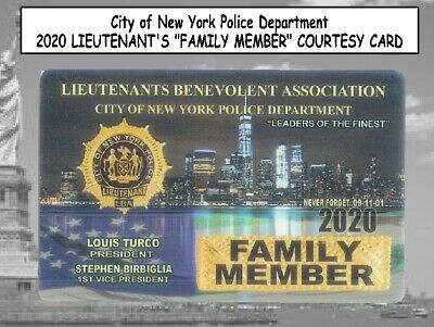 "3x 2020 NYC Police LIEUTENANTS ""FAMILY MEMBER"" & LBA CARDS -NOT PBA SBA CEA DEA"
