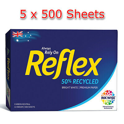 Reflex 50% Recycled 80gsm A4 Copy Paper 500 x 5 Packs (2500 sheets) Photocopy