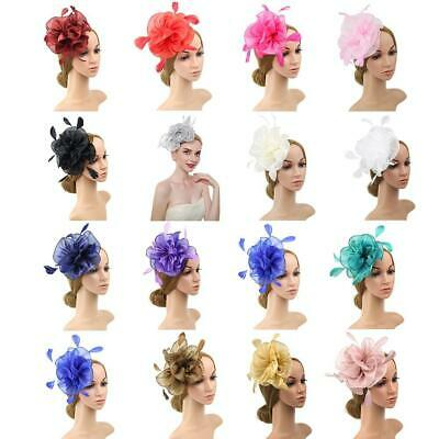 Flower Feather Fascinator Headband Hair Accessories Royal Race 2019hot Ladi H6J0