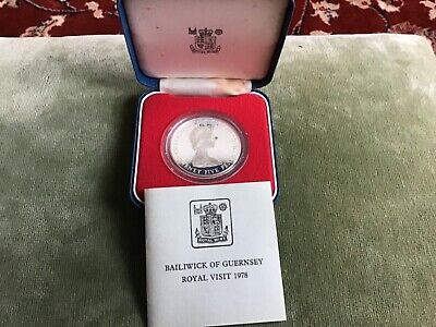 Royal Mint Silver Proof Coin Crown 1978 Guernsey Royal Visit Twenty Five Pence