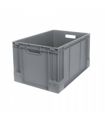 1x Heavy Duty Industrial Plastic Stacking Euro Storage Container Box Crate Grey