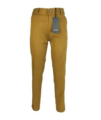 Boys Kids Slim Fit Chino Dress Suit Trousers Casual Cotton Mustard Brown Pants