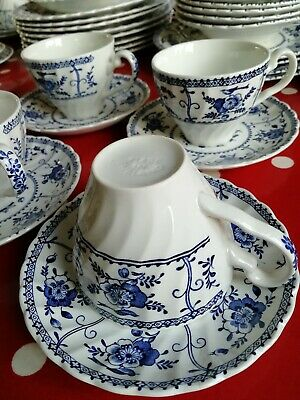 Johnson Brothers Blue Indies China cups and saucers, 4 sets