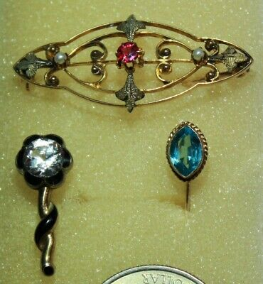 3 LOVELY ANTIQUE ART DECO 10k GOLD PCS; 2 BROOCHES, 1 STICK PIN