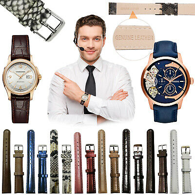 Mens Ladies Genuine Leather Watch Strap High Quality Replacment Band Size 16mm