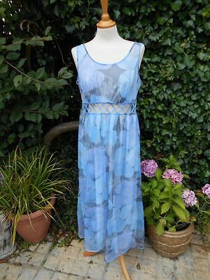 Genuine Vintage 1960's 14/16 Blue Floral Negligee Large Poppies Cut Out Detail
