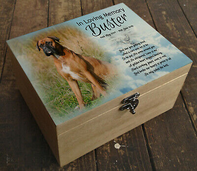 Wooden box casket urn, cremation ashes, memory box, Boxer dog or any breed
