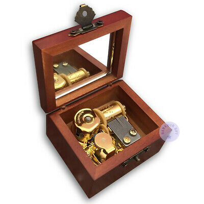Brown Wooden Antiqued Music Boxes With Sankyo Musical Movement (50 Tunes Option)