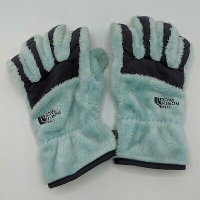 The North Face Fuzzy Fleece Gloves Blue Winter Snow Etip Size Small