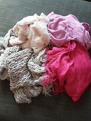 4 x Scarves Primark Grey Baby Pink Hot Pink & Fuscia Scarf